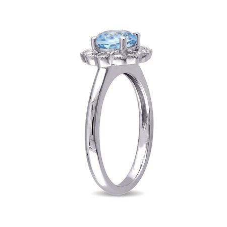 Solitaire Halo Blue Topaz Ring 1 1/4 Carat (ctw) in 10K White Gold - image 1 de 3