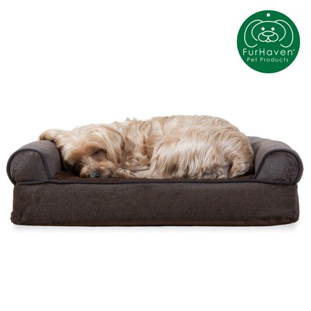 FurHaven Pet Dog Bed   Orthopedic Faux Fleece & Chenille Sofa-Style Couch Pet Bed for Dogs & Cats, Coffee, Small (Pet Couches)