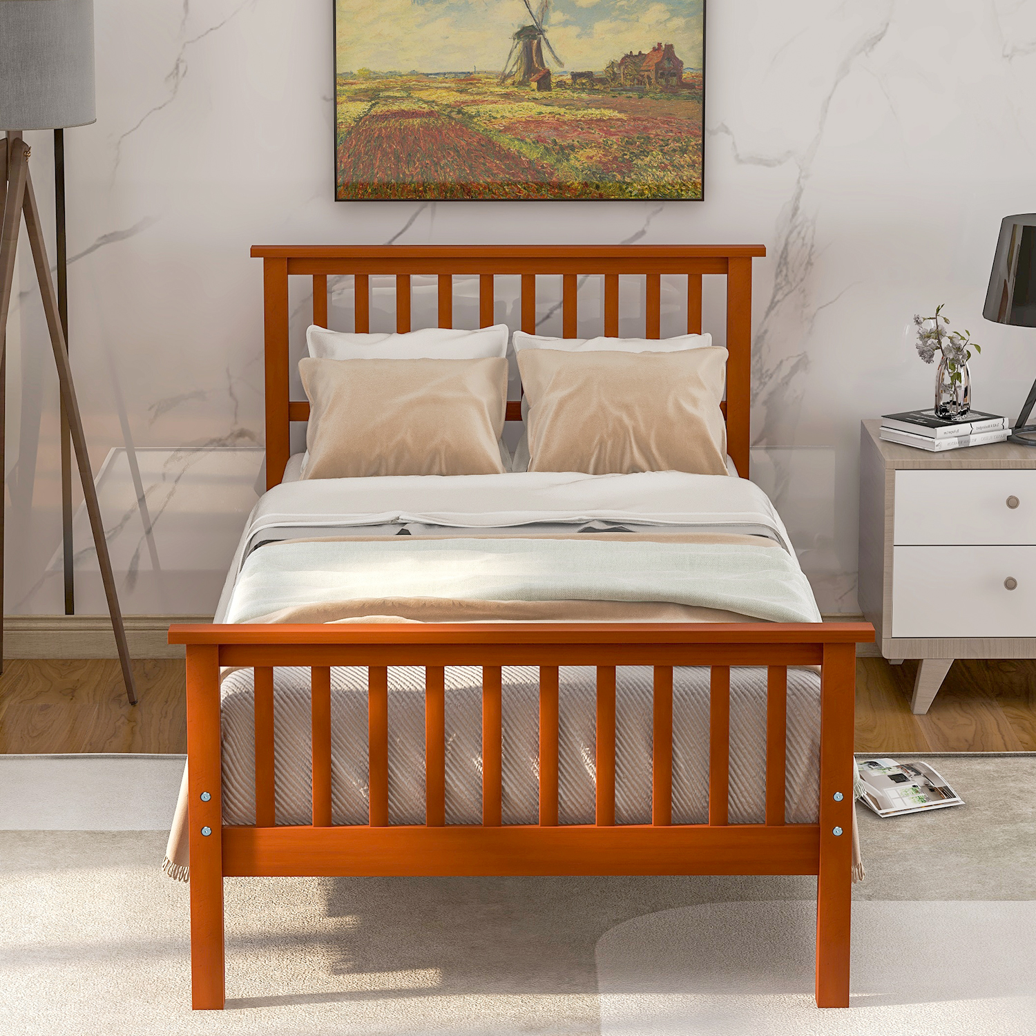 Twin Bed Frame With Headboard Solid Wood Twin Platform Bed Frame W Strong Wooden Slat No Box Spring Needed Great For Boys Girls Kids Teens And Adults Modern Bedroom Furniture Oak Color W7374