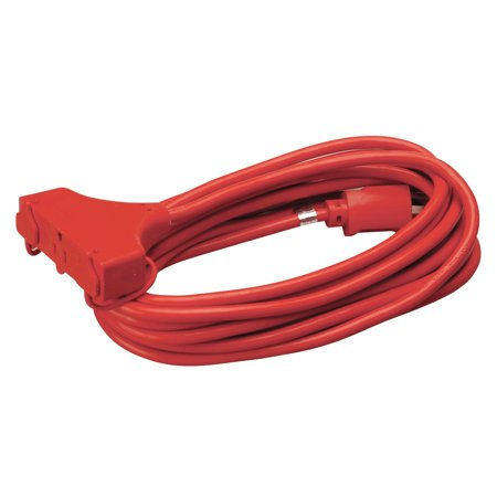- Coleman Cable 4217SW8804 25' 14/3 Red 3-Outlet Round Red Extension Cord