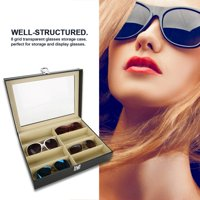 EOTVIA Glasses Storage Box, Display Case, 8 Grids Sunlasses Glasses Storage Display Case Glasses Storage Box PU Leather