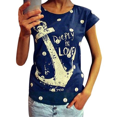 MayShow Clearance Women T-Shirt Plus Size Casual Letter Print Anchor Summer Pullover Tops Cotton Short Sleeve Shirt for Women Discount Deals