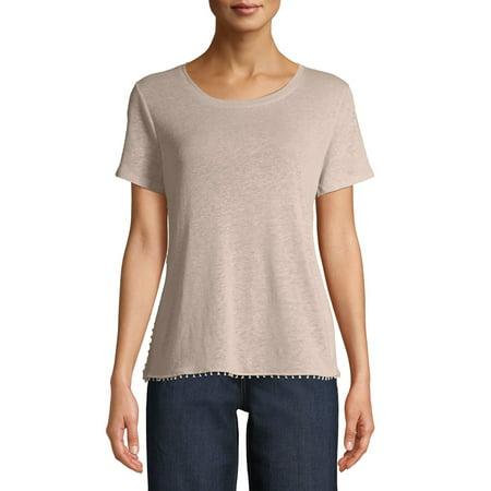 Women's Short Sleeve Pom Pom T-Shirt Yellow T-shirt Bag