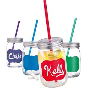 Palais Mason Jar Tumbler Mug with Stainless Steel Lid and Decorative Straws - 15 Ounces - Set of 4 (Colored Chalk It Up W|Chalk & Matching Straws)