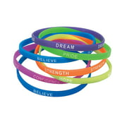 Thin Inspirational Rubber Bracelets - Jewelry - 12 Pieces