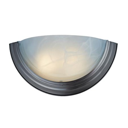 NICOR Lighting 15-Inch Half-Moon Flush-Mount Wall Sconce with Alabaster Shade, Nickel (31802-118NK)