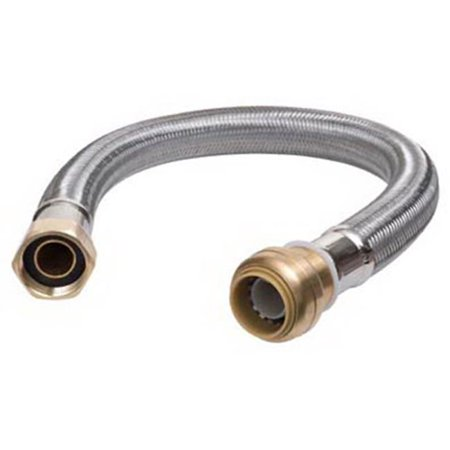 SHARKBITE/CASH ACME 18-In. Stainless Steel Braided Water Heater Connector, Lead-Free, 1/2 x 3/4 (Acme Stainless Steel Heater)