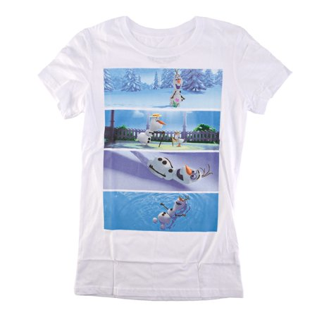 Disney Frozen Olaf Scene Sequence Juniors White T-Shirt | XL
