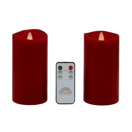 Red Flameless Candles Flickering Flame Effect Real Wax, Gift Package 2 Pieces LED Pillar Candles (D 3