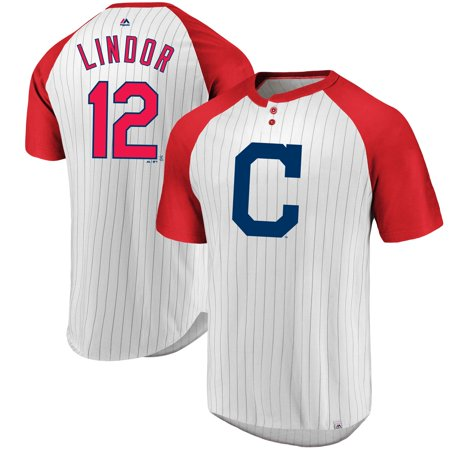 127ee91e8 Francisco Lindor Cleveland Indians Majestic Everything in Order Pinstripe  Name   Number T-Shirt - White Red - Walmart.com