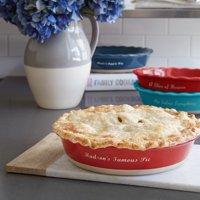 Personalized RedEnvelope Stoneware Pie Dish Navy