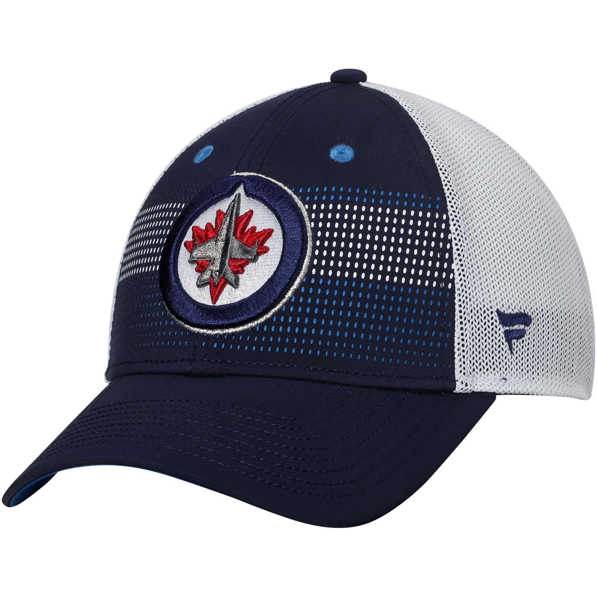 Winnipeg Jets Fanatics Branded Iconic Grid Trucker Adjustable Hat - Navy/White - OSFA