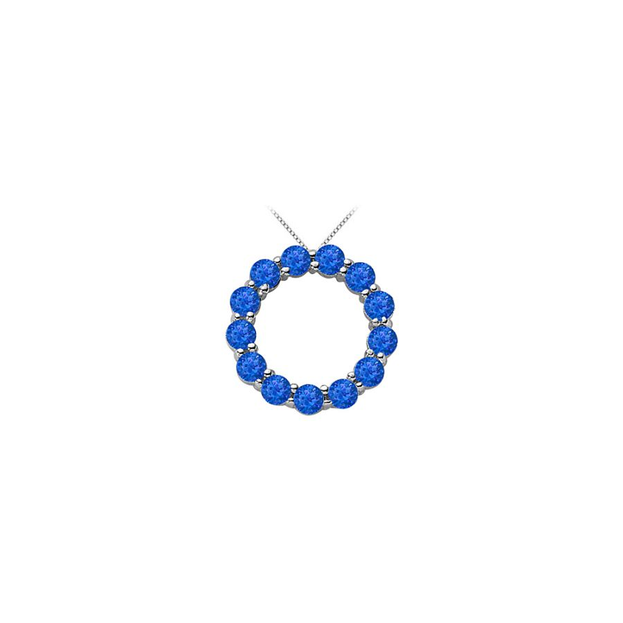 LoveBrightJewelry Created Sapphire of September Birthstone Circle Necklace in Sterling Silver 2 Carat TGW by Love Bright
