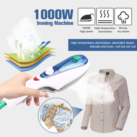 1000W Handheld Garment Steamer Iron Brush, Foldable Portable Steam Irons for Travel Home Household Ironing Clothes