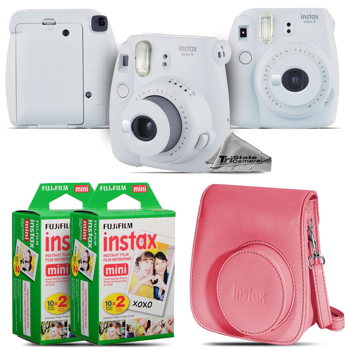 FujiFilm instax mini 9 Film Camera (Smokey White) + Pink Case 40 Films Kit by Tri State Camera