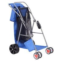 GHP Blue Folding Steel Tube 600D Oxford Cloth Beach Wonder Tote Cart with PVC Wheel