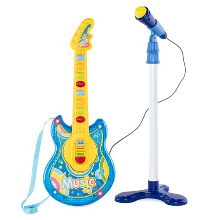 Microphone Instrument Mount (Best Choice Products 19in Kids Toddlers Electric Battery Operated Flash Guitar Pretend Play Musical Band Instrument Toy Playset w/ Microphone, Adjustable Stand, MP3 Compatibility - Blue)