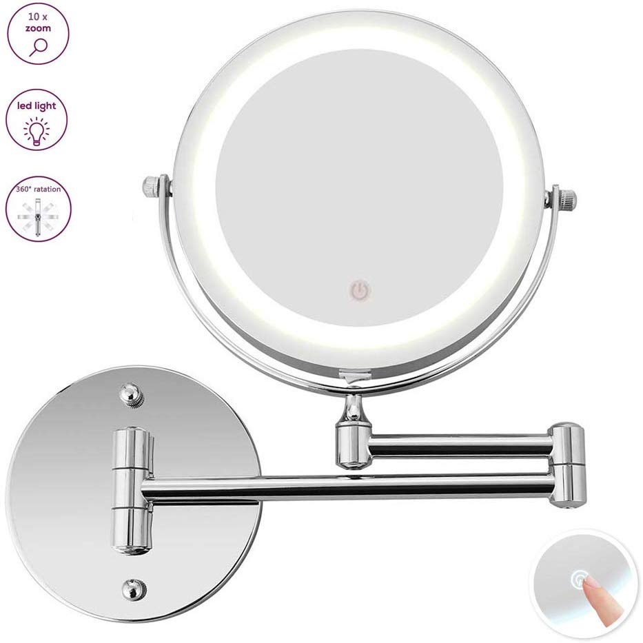Wall Mount Makeup Mirror 10x Magnifying Two Side Led Lighted Vanity Mirror For Bathroom 360 Rotatable Usb Rechargeable Walmart Canada