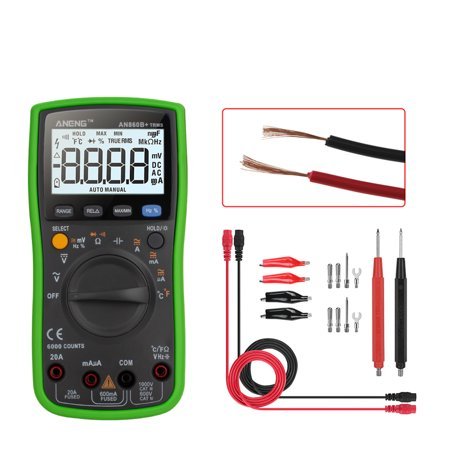Ustyle Backlight Digital Multimeter AC/DC Current Voltage Resistance Frequency Temp Tester LCD 6000 Counters - image 6 of 9