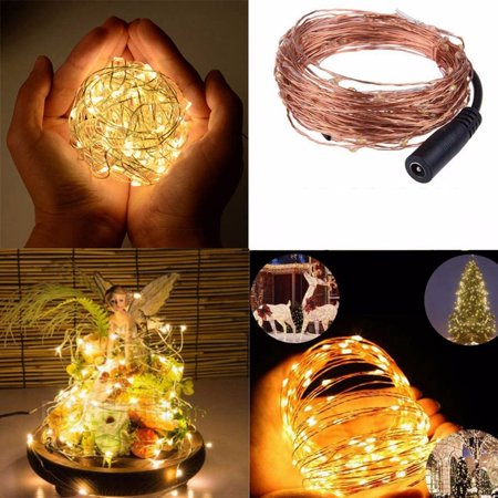 Outdoor 16.4Ft 50 LED 5M LED Chirstmas String Copper Wire Light String Fairy Lamp Indoor For Wedding Party Xmas Party Curtain Christmas Waterproof IP65 DC12V Home Decor Rope Light ()