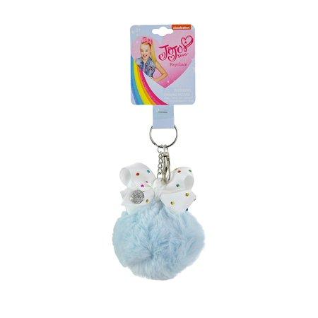 Keychain - Jojo Siwa Furball w/ Bow, Blue Pom Pom Ball Fashion Purse Punk