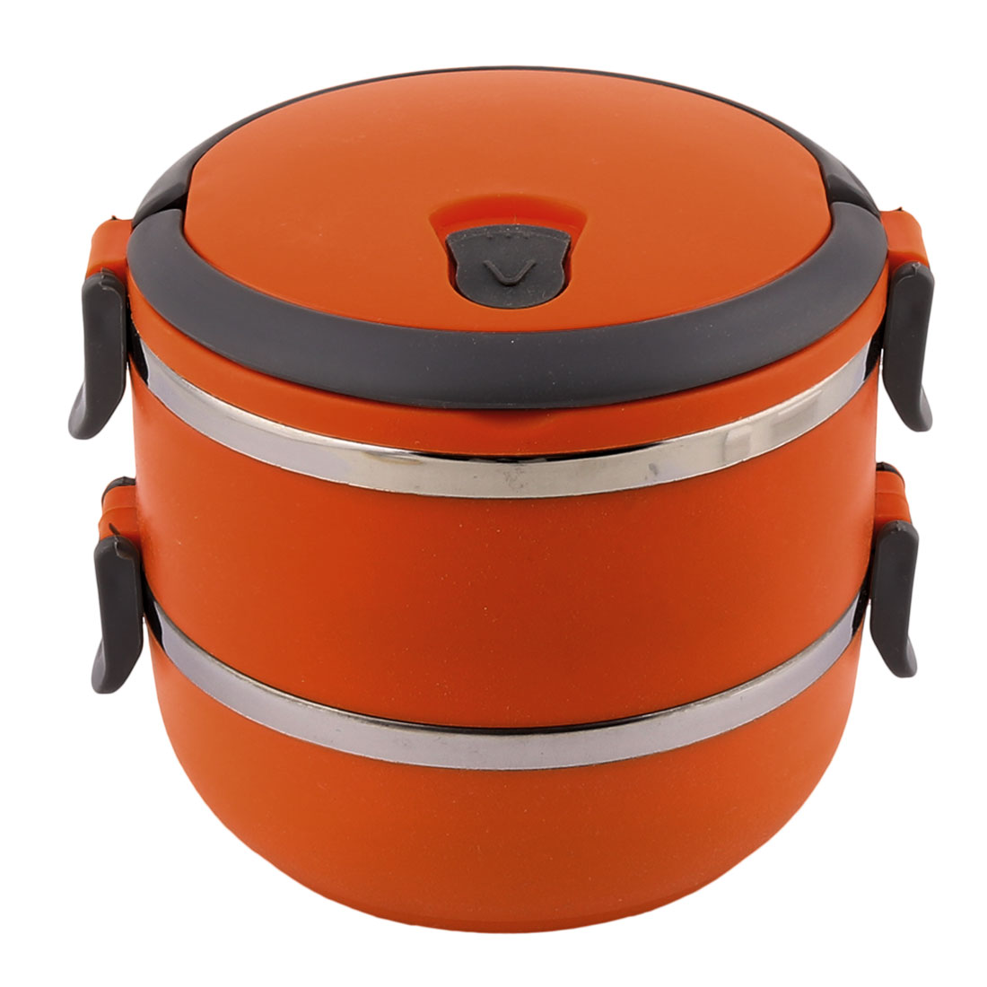 Unique Bargains Home School Office Orange Plastic Handle Stainless Steel Double Layers Lunch Box Food Container