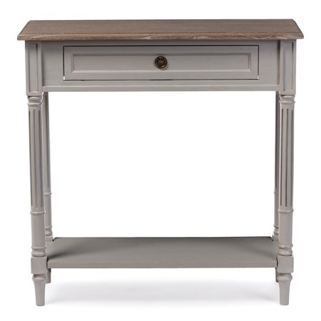 Baxton Studio Edouard Provincial White Wash Distressed Console Table