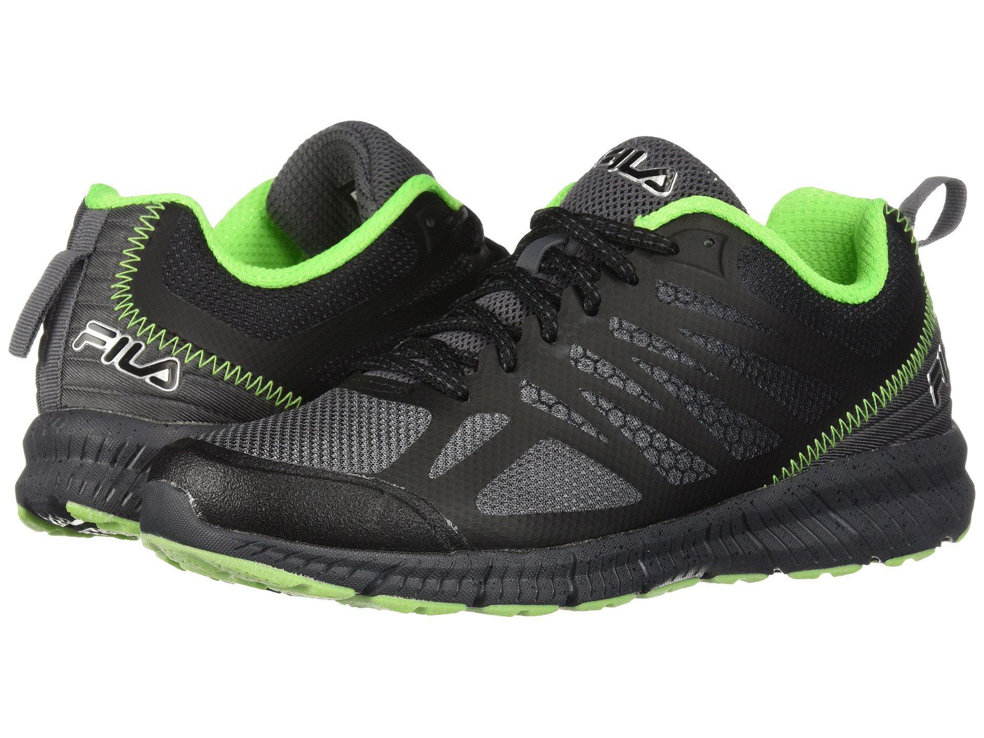 Fila Memory Speedstride Trail Mens Low Top Athletic Running Shoes (Dark Silver -Black -Green Gecko, 12 US MEN) by