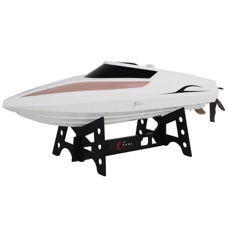 GHP 2.4GHz 26-30Km/H Speed White Racing Boat with LCD Display Remote Controller Lcd Display Controller