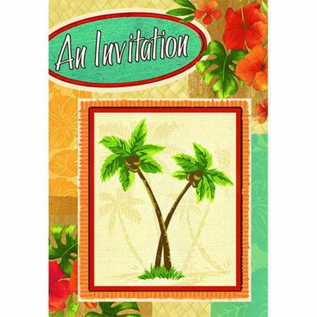 Hawaiian Luau 'Palm Tree Party' Novelty Invitations w/ Envelopes (8ct) - Luau Invitation Ideas