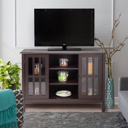 - Gymax Wood TV Stand Storage Console Free Standing Cabinet Holds Up To A 45'' TV Brown