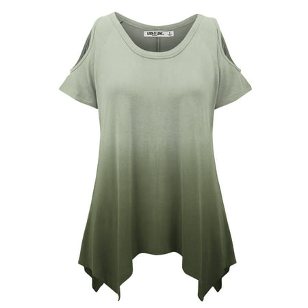 WT1093 Womens Ombre Round Neck Short Sleeve Cut Out Off Shoulder Top XXXL OLIVE