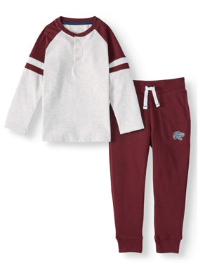 365 Kids from Garanimals Long Sleeve Henley & French Terry Joggers, 2-Piece Outfit Set (Little Boys & Big Boys)