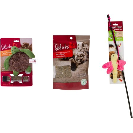 Petlinks System (Petlinks Cat Supplies Value Pack: Refillable Catnip Toy, Catnip, Wand Toy )