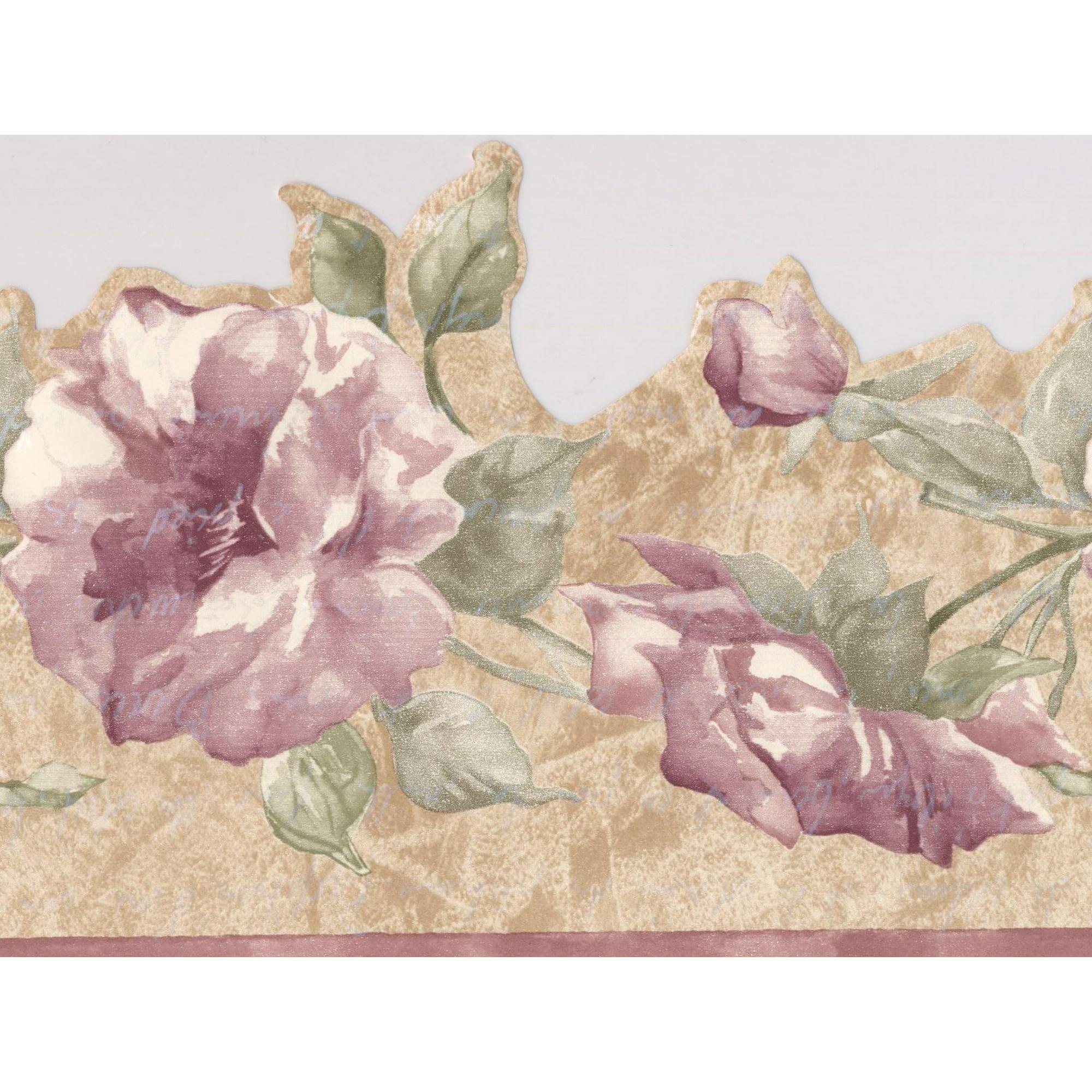 Purple Flowers On Vine Beige Floral Wallpaper Border Retro Design