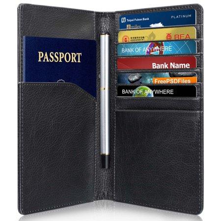 GreatShield RFID Blocking Leather 10 Slot Passport Card Holder Wallet Cover Case