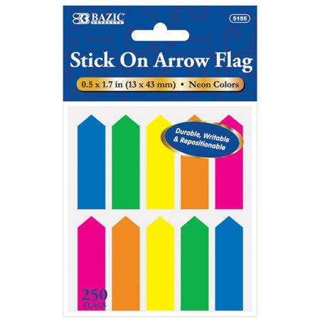 3 Pk, Bazic 250 Stick on Arrow Flags, 0.5 x 1.7 in. (750 Flags Total)