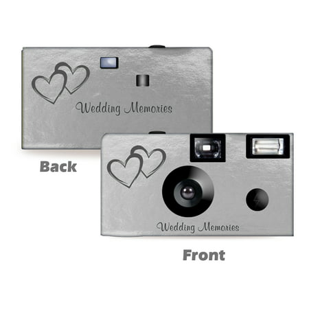 Silver Foil Coupled Hearts Wedding Disposable Camera, 5 pack, Free Shipping, Wedding Camera, Anniversary Camera, from CustomCameraCollection WM-50146-C