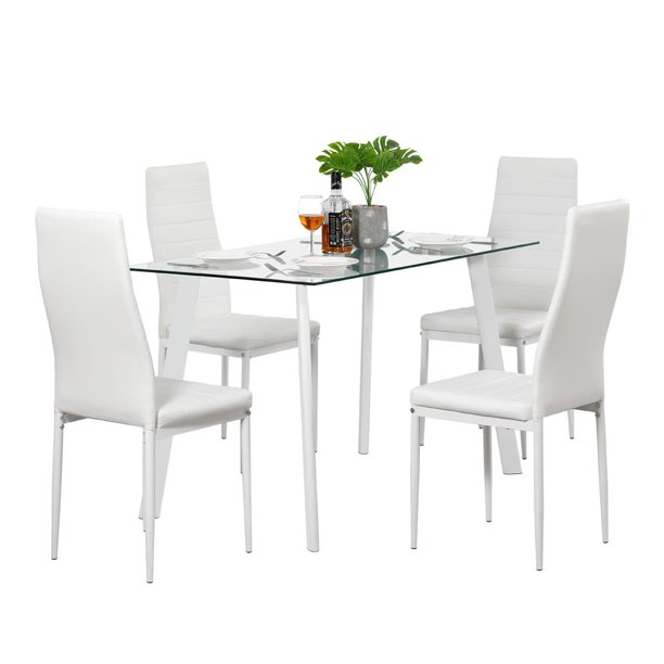 Ktaxon Glass Metal 5 Piece Dining Table Set 4 Chairs Kitchen Room Breakfast Furniture