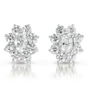 Collette Z  Sterling Silver with Rhodium Plated Clear Oval with Round Cubic Zirconia Halo Stud Earrings