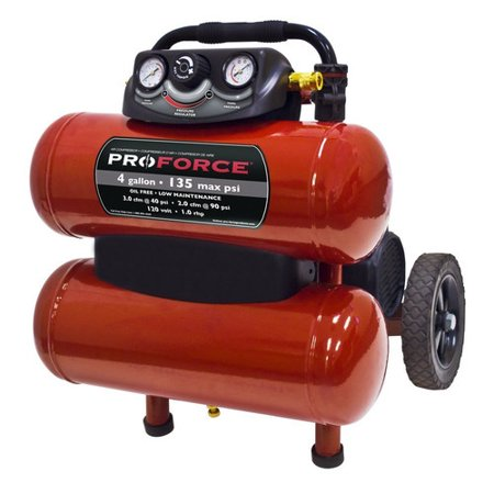ProForce VKF1080418 4 Gallon Dolly Air Compressor with Telescoping Handle and Accessory Kit 2 Stage Telescoping Air