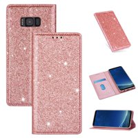 Samsung Galaxy S8 Plus Wallet Case, Dteck Bling Slim PU Leather Magnetic Flip Folio Stand Case Cover Built-in One Card Holder For Samsung Galaxy S8+, Rosegold