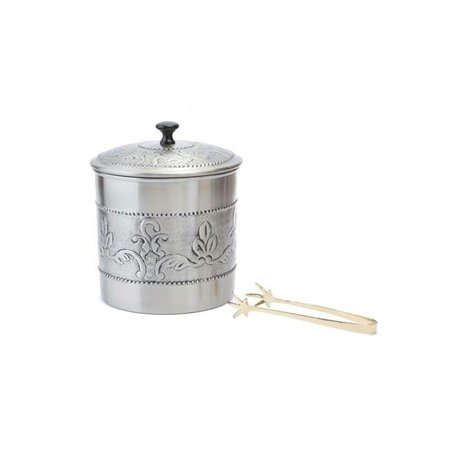 7 Dia x 9 H Ant EmbVictoria Ice Bucket with Brass tongs 3 Qt. - image 1 de 1