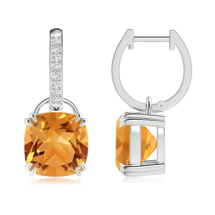 Angara Cushion Citrine Drop Earrings with Diamond Accents EUD5uy