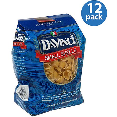 DaVinci Small Shells Pasta, 16 oz, (Pack of 12) (Da Vinci Pasta)