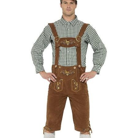 Bavarian Costume (Adult's Mens Deluxe Traditional Hanz Oktoberfest Bavarian Lederhosen)