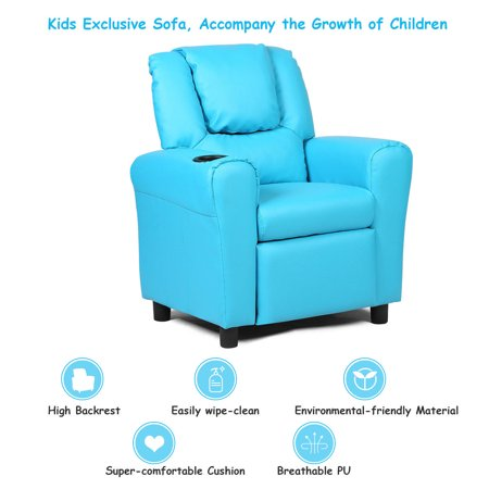 Kids Recliner Armchair Sofa Chair Couch Seat w/ Cup Holder Home Furniture Blue - image 7 de 10