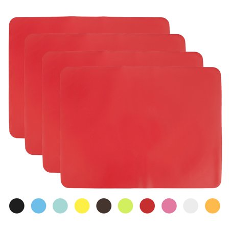 Red Round Placemats (Aspire 4PCS Thicken Non-Slip Silicone Placemats Cutting Hot Mats)