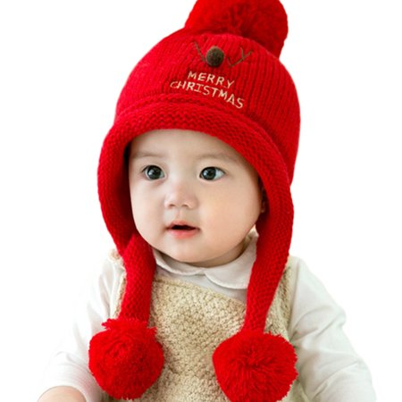 452978940 Baby Beanie For Boys Girls Cap Christmas Cotton Ball Hat Warm Children Hats