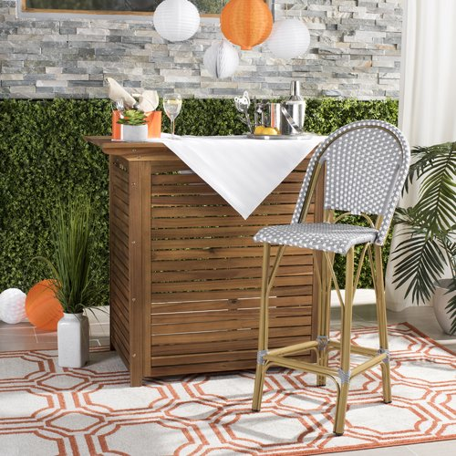 Breakwater Bay Elle 30'' Patio Bar Stool with Cushion